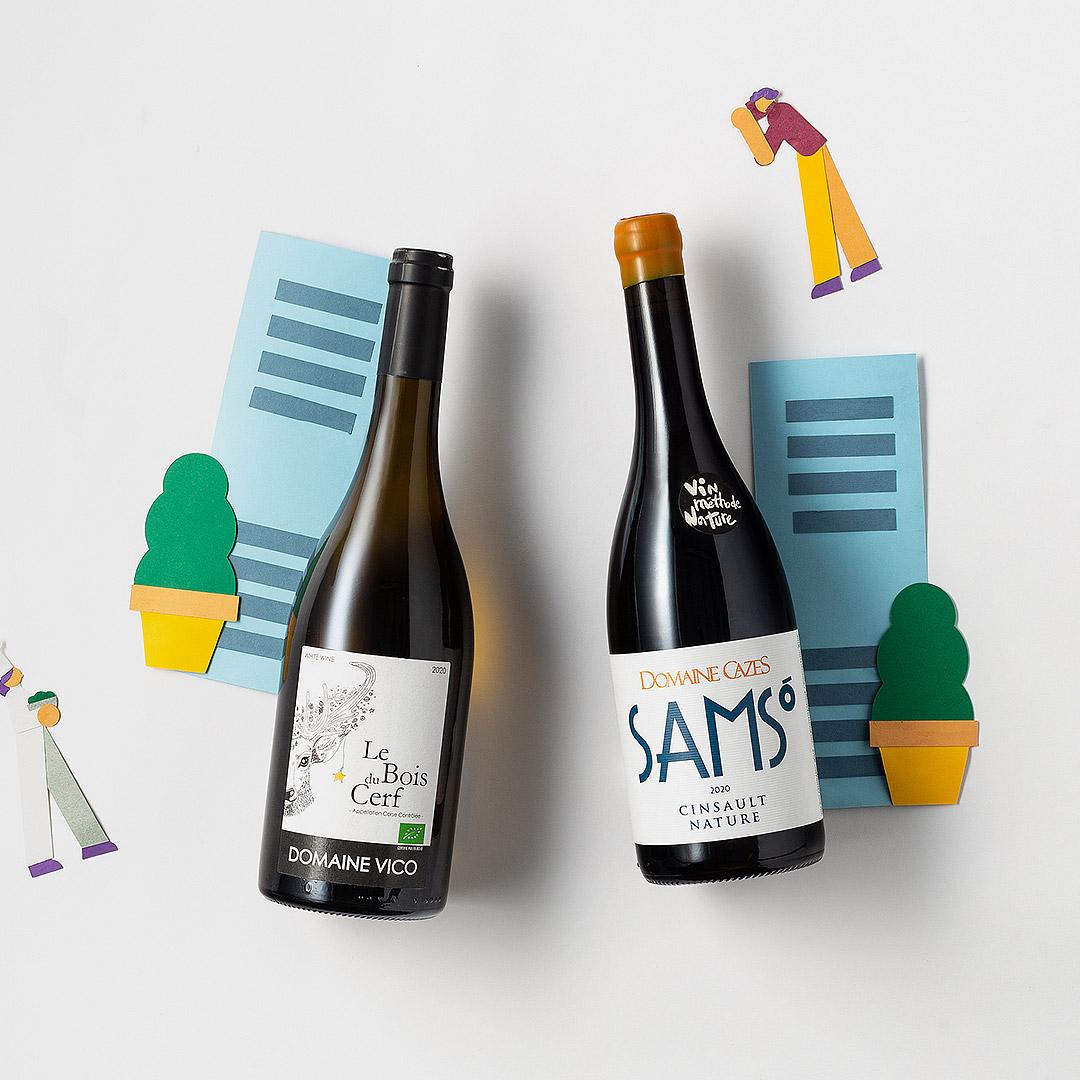 Formule BIO - Sélection mensuelle 3 - Domaine Vico Le Bois du Cerf blanc 46 et DOMAINE CAZES SAMSO IGP Côtes Catalanes 2018